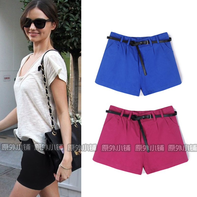 2012 AMIO fashion wind hm candy color shorts female Black with belt