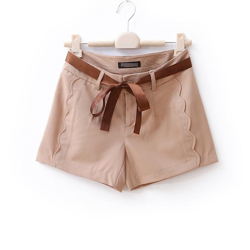 2012 AMIO high quality wave hem casual shorts women's single-shorts wd689 silk ribbon