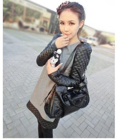 2012 autumn and winter black leather sleeve all-match slim patchwork fur woolen one-piece dress fashion size M L XL