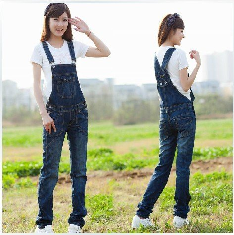 2012 autumn and winter new Ms. denim strap trousers, casual Siamese Bib trousers