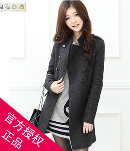 2012 autumn and winter women medium-long slim stand collar double breasted wool coat trench outerwear