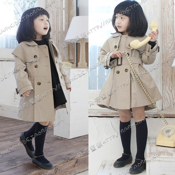 2012 autumn fashion elegant girls clothing baby double breasted trench outerwear overcoat wt-0254