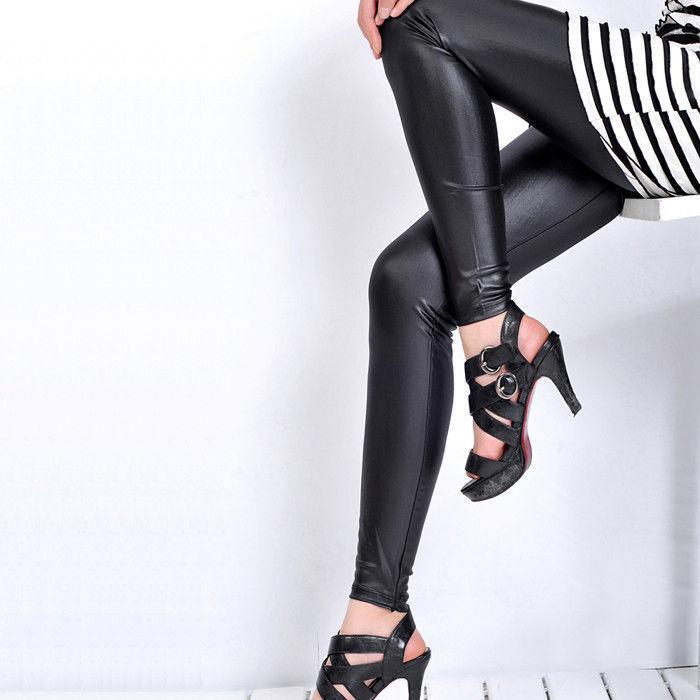 2012 autumn fashion slim tight legging black sexy faux leather trousers women's