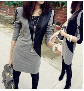 2012 autumn fashion Womens stitching leather small shrug good-looking dress long T-shirt,Hot Sale,Free Shipping