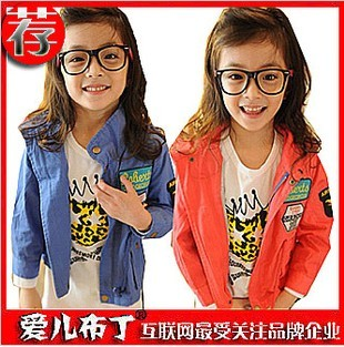 2012 autumn female child baby badge trench child back zipper children wadded jacket