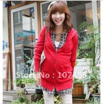 2012 Autumn Hooded knit cardigan Maternity Coats Maternity Sweaters Maternity Hoodies Sweatshirts Pregnant women coat #YZ2087