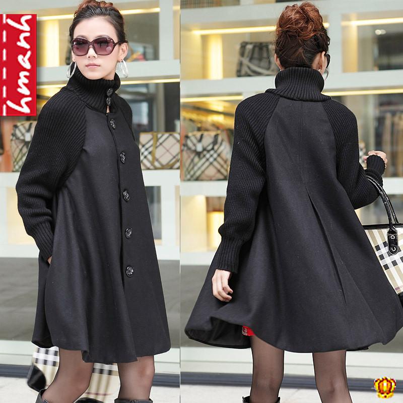 2012 autumn new arrival plus size cloak long design women's trench female outerwear