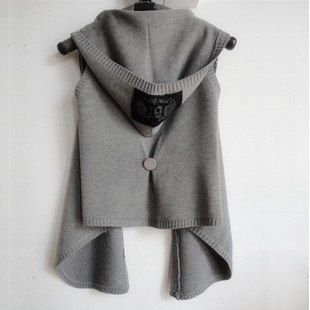 2012 autumn new arrival solid color all-match sleeveless vest vest hooded outerwear women's sweater 5832