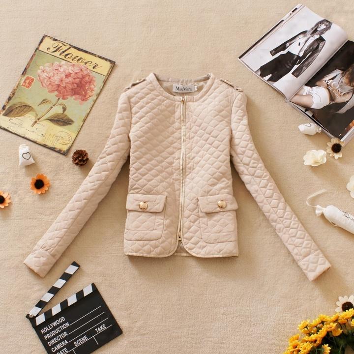2012 autumn new arrival women's vintage epaulette pocket small o-neck slim wadded jacket cotton-padded jacket