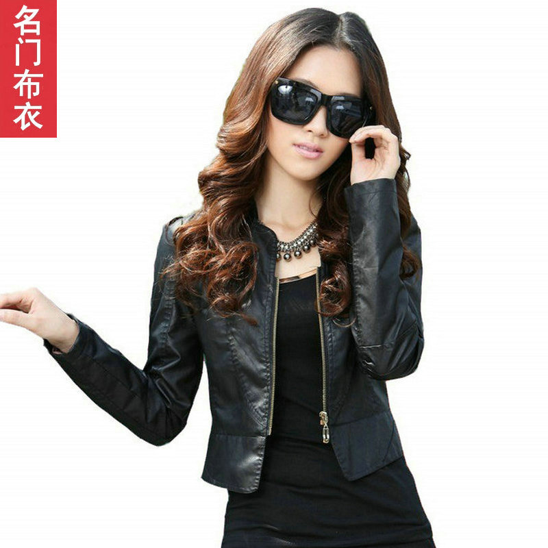 2012 autumn small leather clothing female short design slim PU jacket women's stand collar leather clothing outerwear