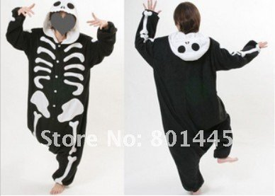 2012 Autumn spring cool Skull design adult romper nonopnd one piece stretchy sleepers polar fleece for 165~185cm free shipping