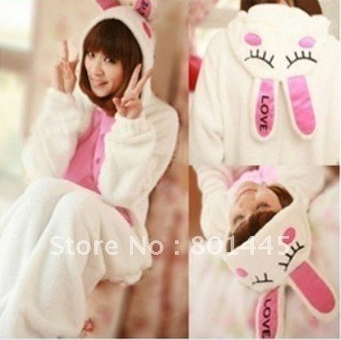 2012 Autumn spring cute rabbit design adult romper nonopnd one piece stretchy sleepers polar fleece for 165~185cm free shipping