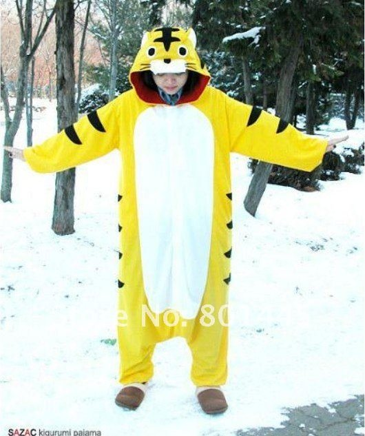 2012 Autumn spring tiger design adult romper nonopnd one piece stretchy sleepers polar fleece for 155~185cm free shipping
