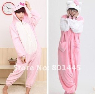 2012 Autumn winter kitty cat design adult romper nonopnd one piece stretchy sleepers fleece for 145~180cm free shipping