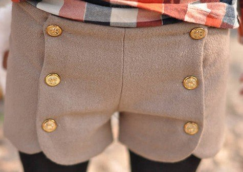 2012 Autumn Winter New Arrival Sweety Double Button Woolen Short Pants Free Shipping