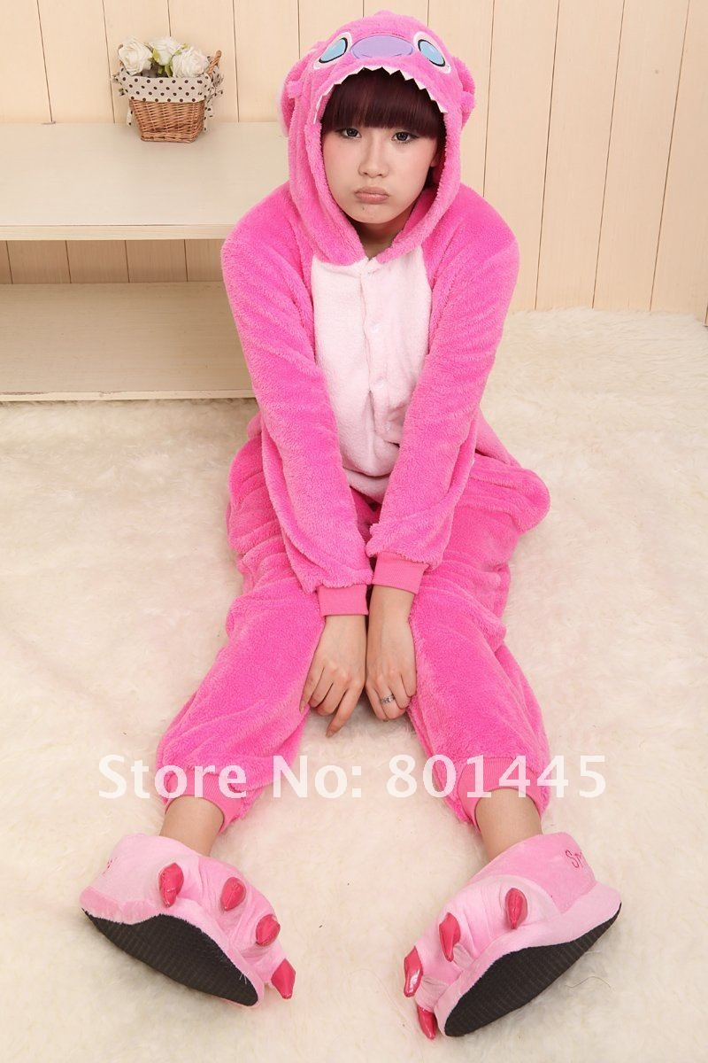 2012 Autumn winter Stitch design adult romper nonopnd one piece stretchy sleepers thick coral fleece for 150~185cm free shipping