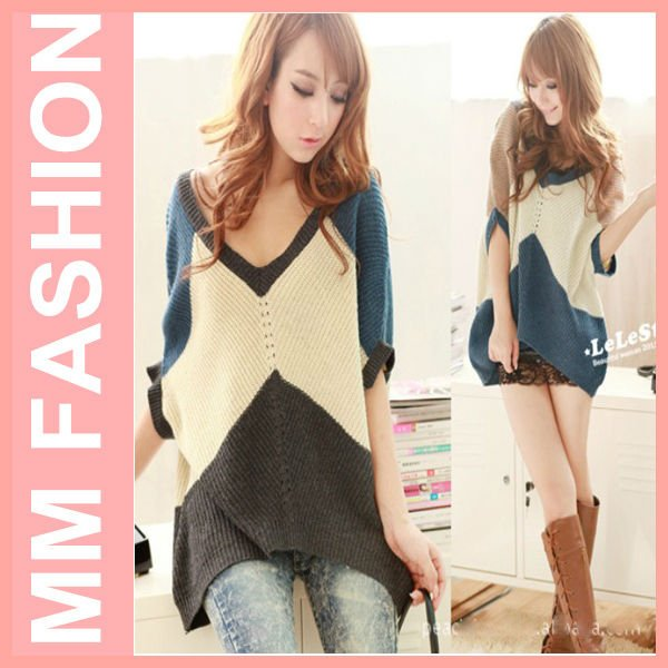 2012 autumn winters maternity jacket large size V color matching temperament show thin bat sleeve short sleeve sweater