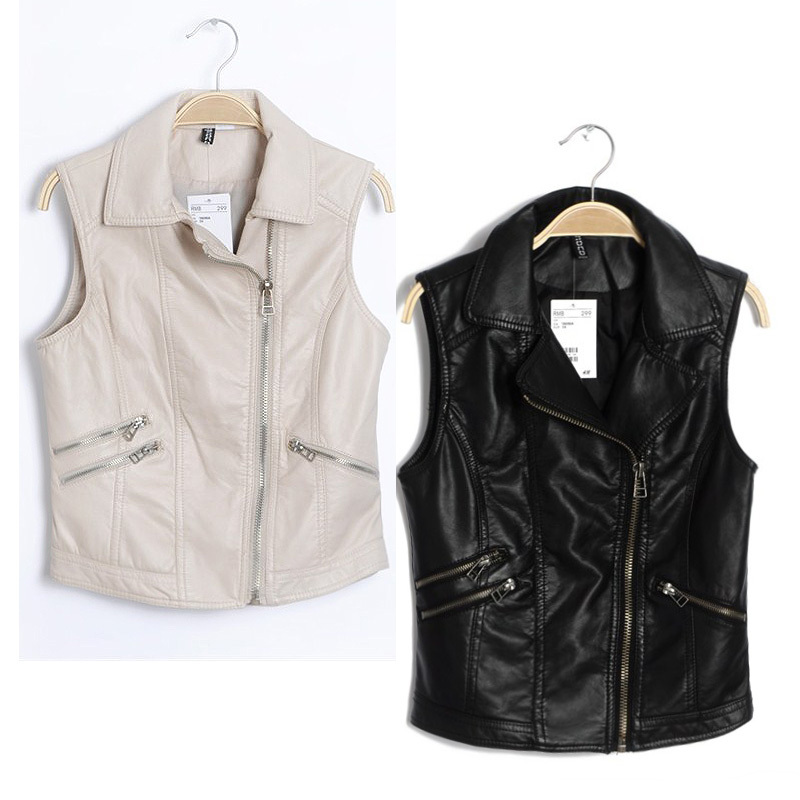 2012 autumn women's motorcycle paragraph solid color black water wash PU leather vest vest ,Free shipping