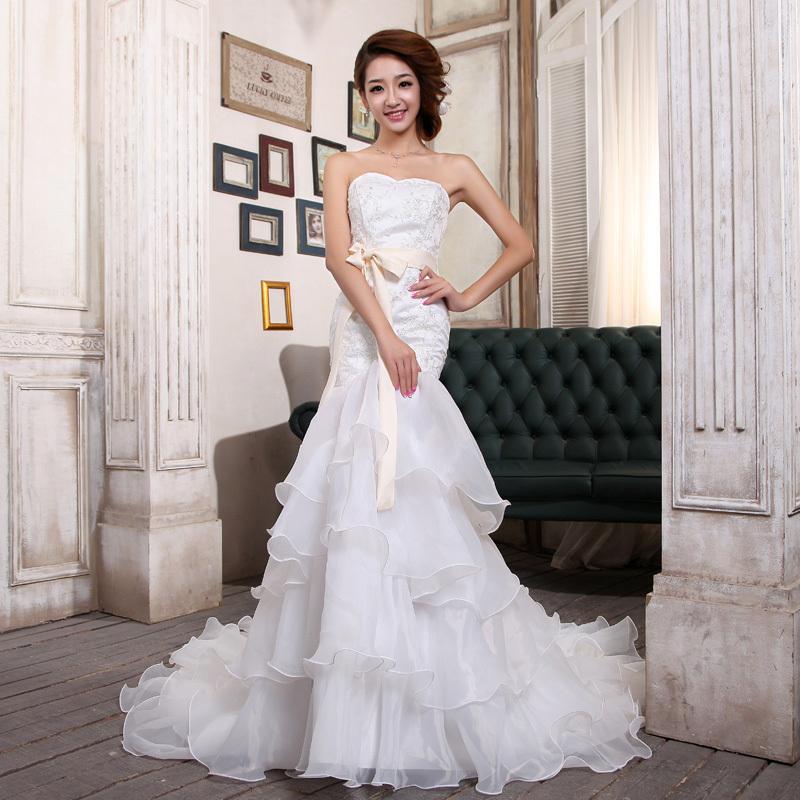 2012 bride fish tail wedding dress white slim hip formal dress costume