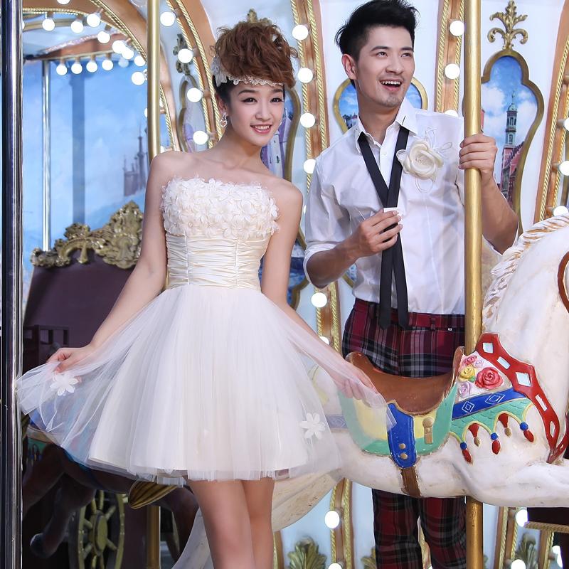 2012 bride wedding dress short design tube top bridesmaid dress champagne color flower summer