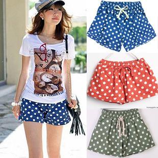 2012 candy color polka dot denim cotton shorts dot casual loose roll-up hem legging skirt