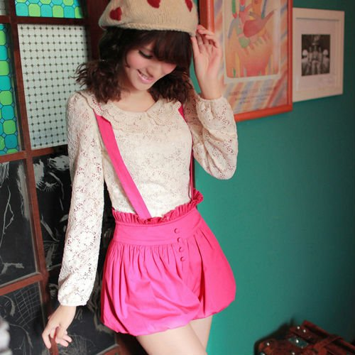 2012 Candy colors tall waist shorts to restore ancient ways lantern's straps divided skirt L41002
