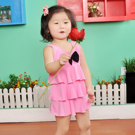 2012 child swimwear girl child swimwear layered dress one-piece dress baby swimwear wholesale