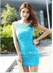 2012 CSexy V collar Dress Pucker Slim Blue free shipping