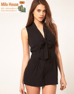 2012 elegant popular best selling ruffle Bow neck tie high waist sleeveless solid color chiffon dresses one-piece dress shorts