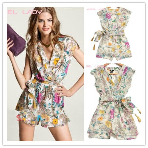 2012 Europe and the United States Chiffon Floral jumpsuit printing deep V-neck piece pants