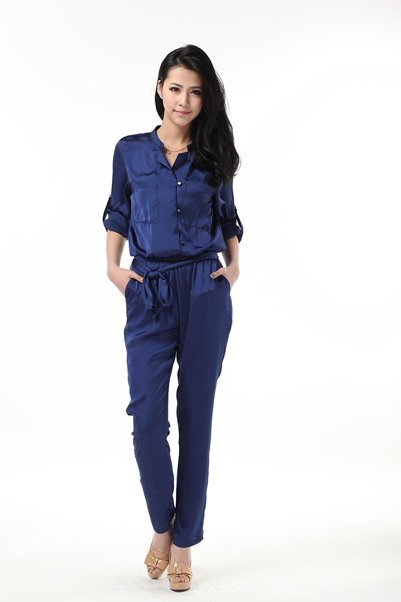 2012 European style high quality  street fashion women's  silk jumpsuit overalls single-breasted jacket