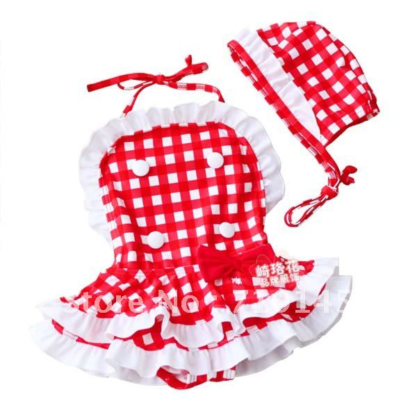 2012 fashion children BIKINI swimsuit  girl red 6 sets/lot 110M-130M wholesale free shipping