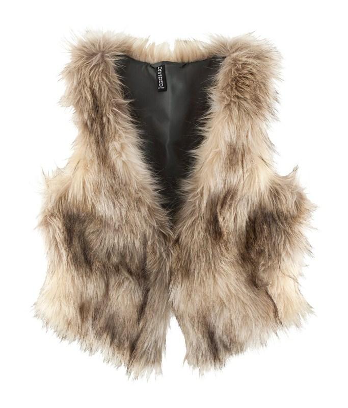 2012 fashion hm beige fur vest fur vest fastener satin liner