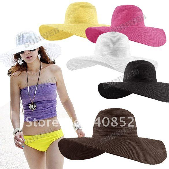 2012 Fashion Jewelry Hollywood sexy lovely wide wire brim Summer / Beach / Sun /Floppy / Straw hat 6 colors 3171