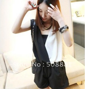 2012 fashion jumpsuit for women in summer chiffon material white and black