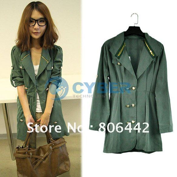 2012 Fashion Long Sleeve Slim Fit Double Breasted Trench Coat,Women's Outerwear Coat, Free Shipping
