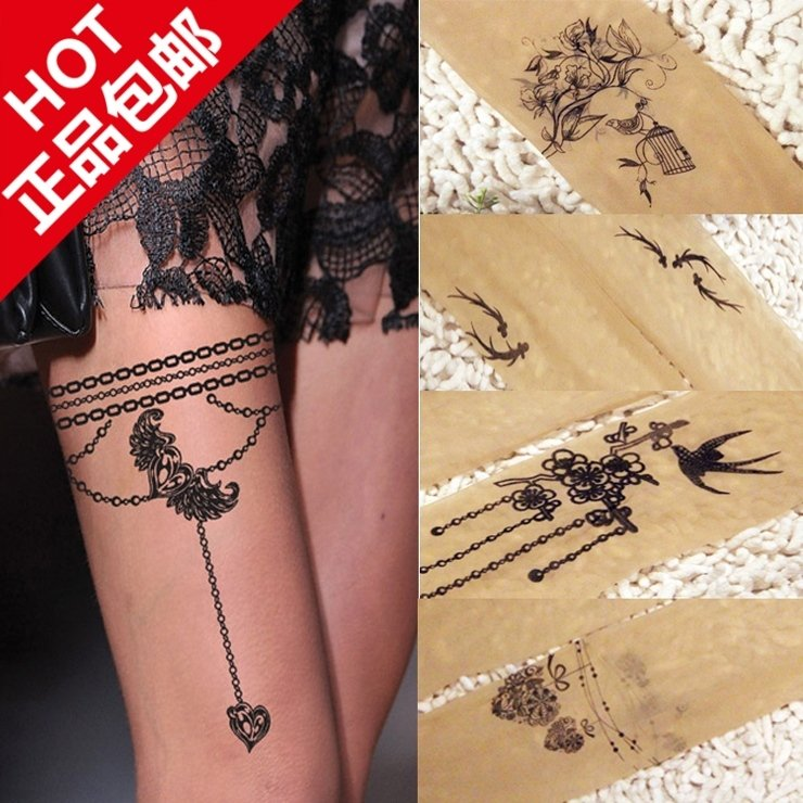 2012 fashion new women' pantyhose ultra-thin tattoo pattern-on sexy stockings skin color/gray/black