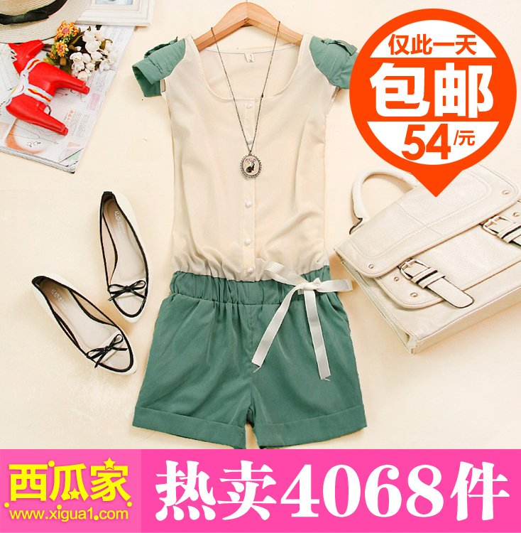2012 Fashion Patchwork Chiffon Bow Jumpsuits,Sleeveless Shirts and  One Piece Shorts,Pink,Blue/Pink/Green,Free Shipping,RH 002