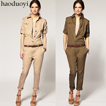 2012 fashion summer, autumn100% cotton clothes handsome jumpsuit pants slim trousers jumpsuit