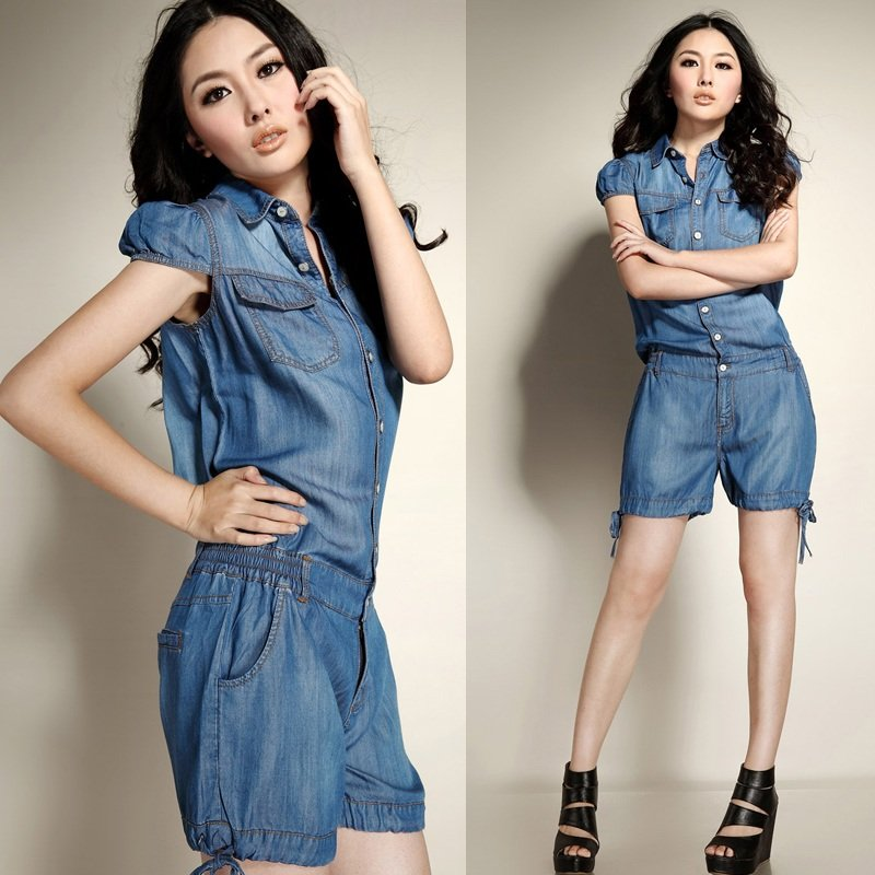 2012 fashion summer womens short sleeve jumpsuits ladies tancle loose blue denim rompers casual coeralls for wmen