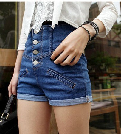 2012 Fashion Women Shorts/High Waist/ Elastic Leisure Pants/Jean Style Ladies Shorts/All-Purpose Style20 Pcs EMS Free