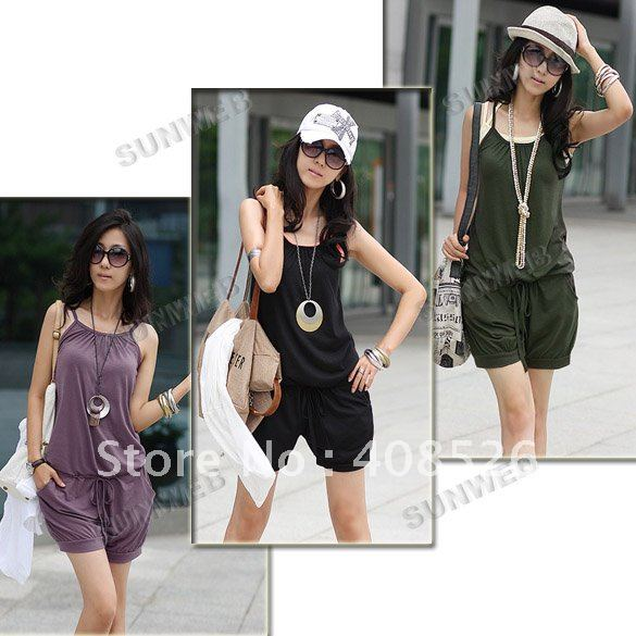 2012 Fashion Women Sleeveless Romper Strap Short Jumpsuit Scoop 3 Colors White, Black,Purple free shipping 3168