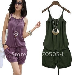 2012 Fashion Women Sleeveless Straps Short Jumpsuit Scoop Army Green, Black,Purple Free Shipping