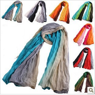 2012 fluid pleated autumn and winter scarf cape gradient scarf colorant match scarf wj49