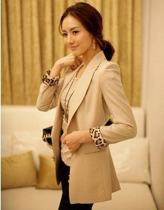 2012 Free ship! korean Womens Lapel Casual Suits Blazer Jacket Outerwear Coats fashion suits for women beige black color 216
