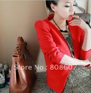 2012 Free ship! korean Womens Lapel Casual Suits Blazer Jacket Outerwear Coats fashion suits for women red and black color 219