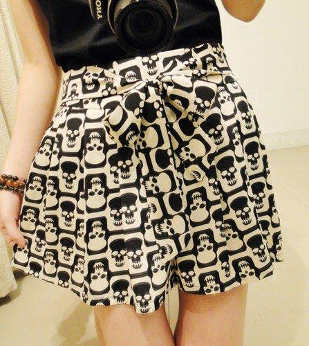 2012 Free shipping hot sale Chiffon bowknot skull elastic waist shorts s598