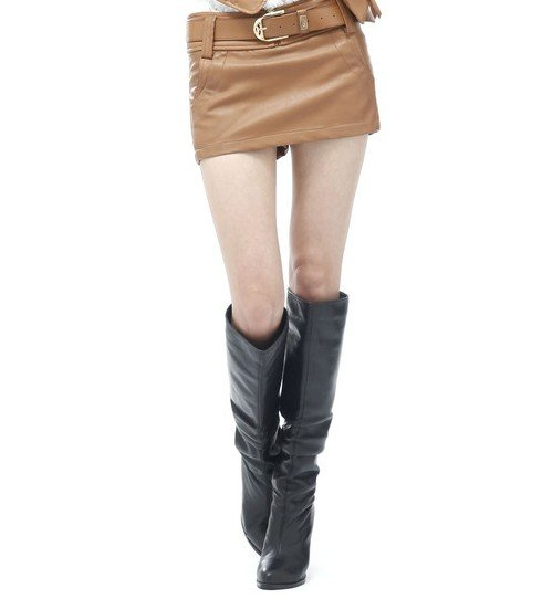 2012 Free shipping Summer Womens water washed leather pants PU culottes short skirt leather culottes leather shorts
