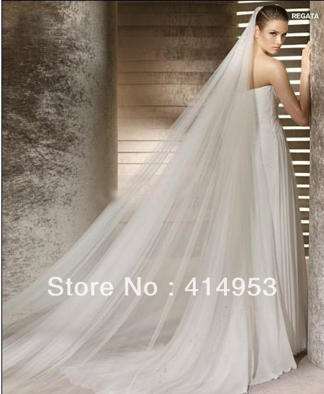2012 Free shipping Three Meters Long Wedding Veils Ivory White Two layers Tulle Bridal Wedding Veils