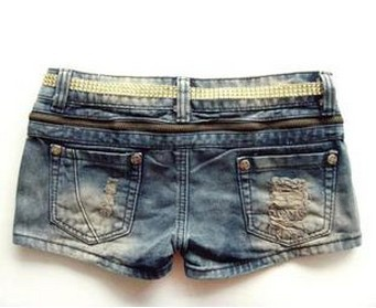 2012 Free Shipping Zipper Paillette Ornament Pockets Demin Shorts for Summer Rhinestone Denim Shorts Women